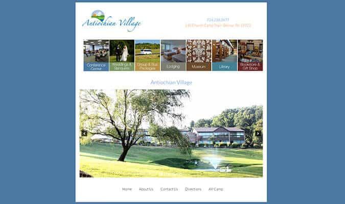 Antiochian Village website screenshot