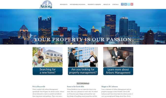 arbors-management-website-screenshot