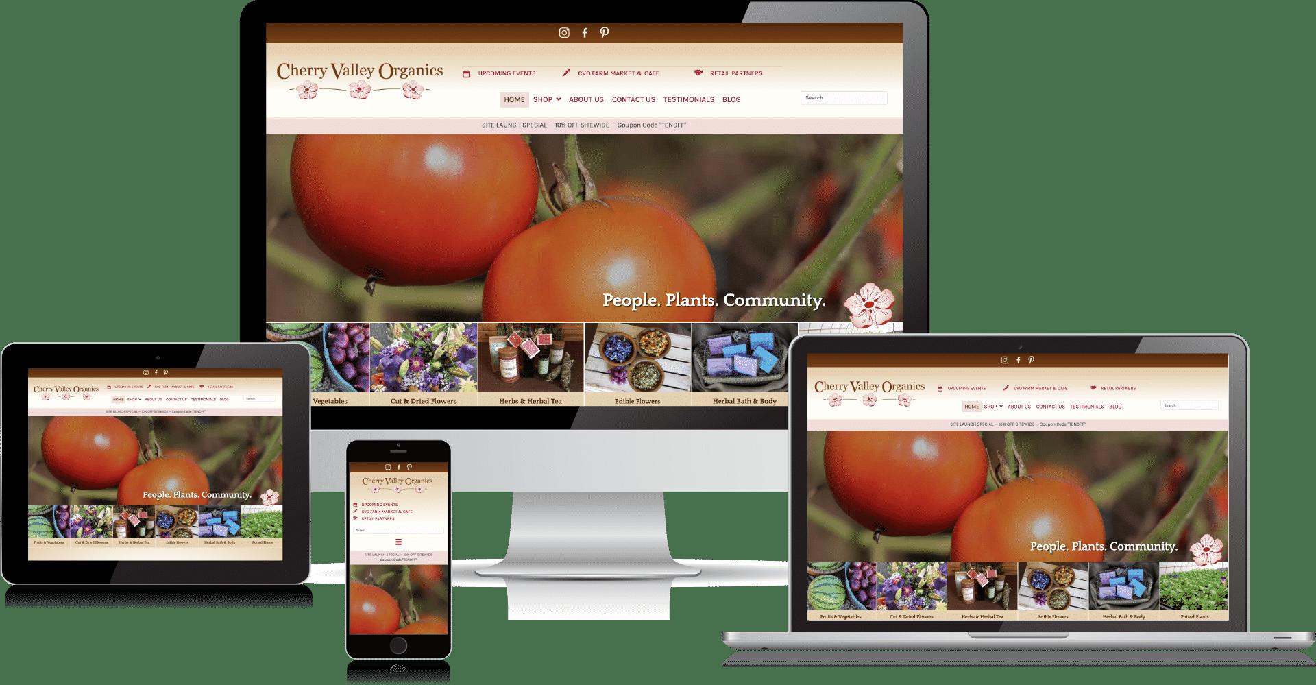 Cherry Valley Organics website by 50 Marketing