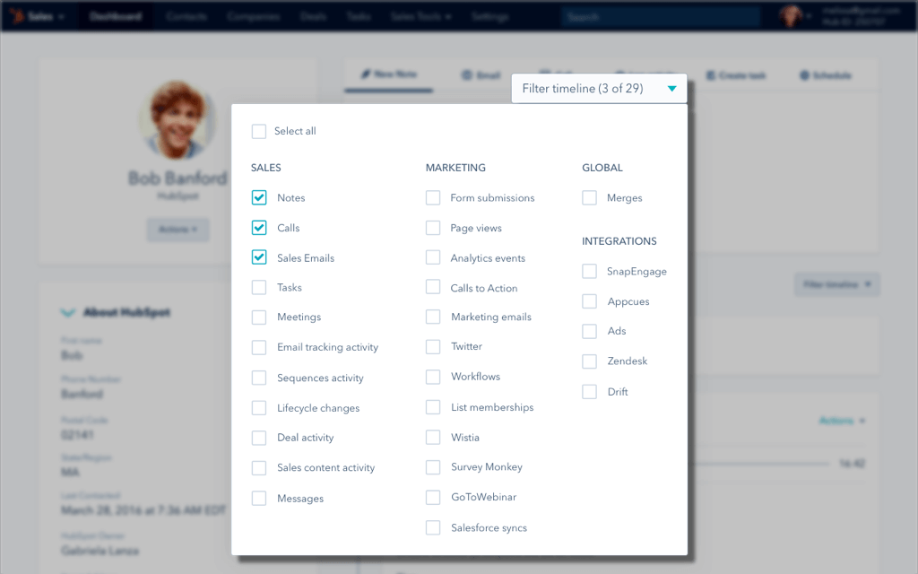 HubSpot CRM Marketing screenshot