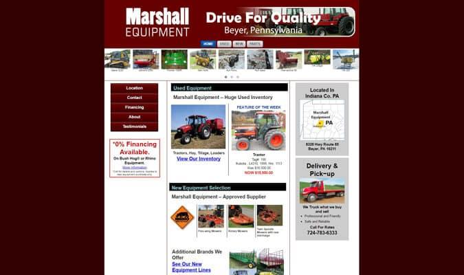 marshall-equipment-website-screenshot