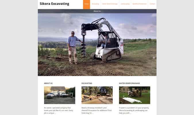 sikora-excavating-website-screenshot
