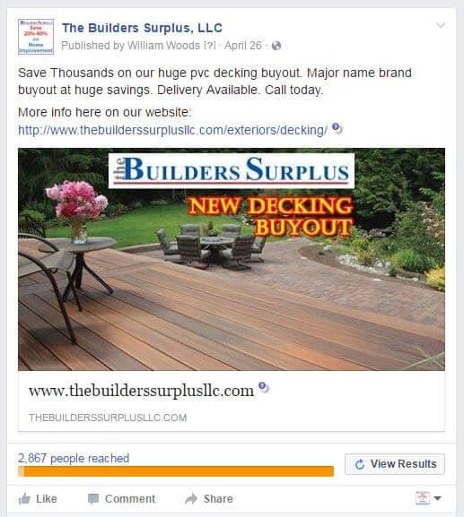 The Builders Surplus facebook ad example