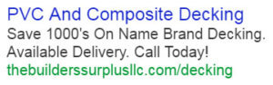 The Builders Surplus text ad example