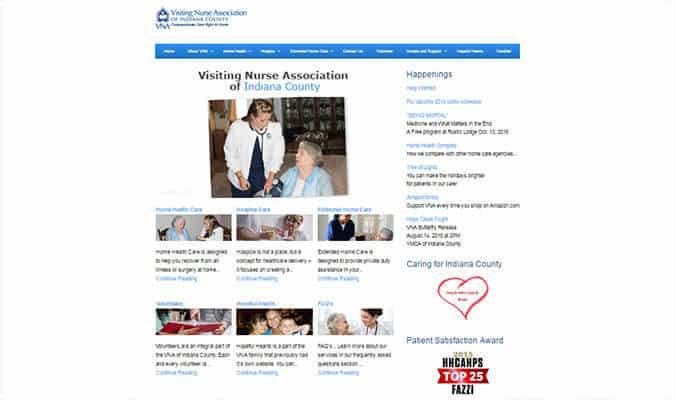 VNA of Indiana County website screenshot